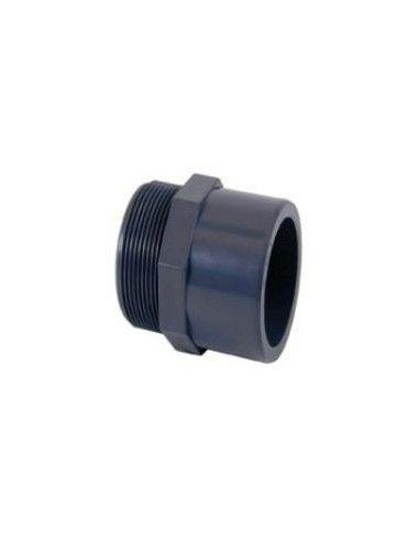 PVC mondstuk met schroefdraad, te lijmen Ø63 mm x 2''
