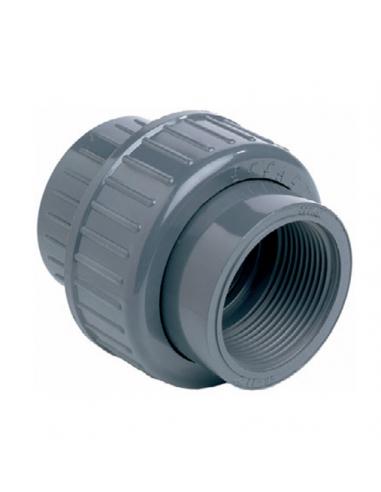 PVC 3-delige koppelingen, V te lijmen / V te schroeven Ø63 mm x